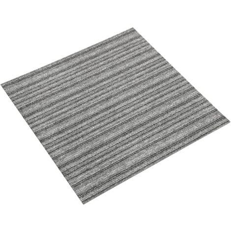 vidaXL Baldosas de suelo de moqueta 20 uds 5 m² 50x50 cm rayas gris - Gris