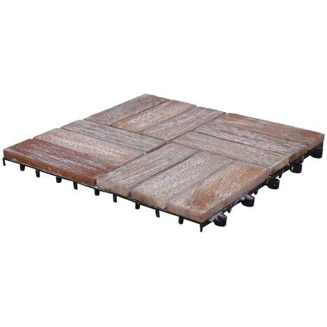 vidaXL Baldosas de terraza 11 uds madera maciza reciclada 30x30 cm - Marrón