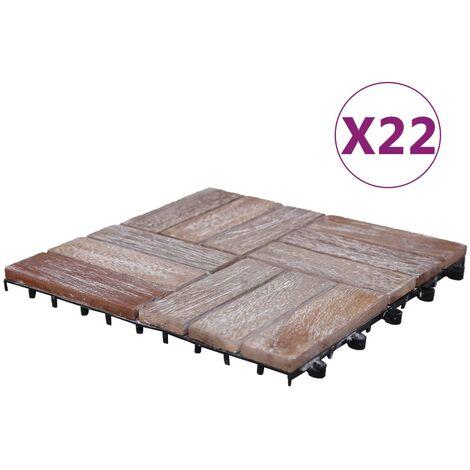 vidaXL Baldosas de terraza 22 uds madera maciza reciclada 30x30 cm - Marrón