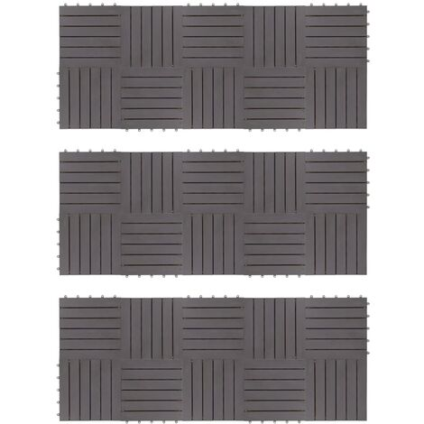 vidaXL Baldosas de terraza 30 uds madera acacia gris deslavado 30x30cm - Gris