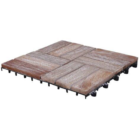 vidaXL Baldosas de terraza 33 uds madera maciza reciclada 30x30 cm - Marrón