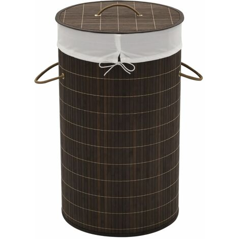 Bamboo Laundry Bin Round Dark Brown