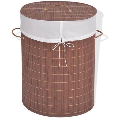 vidaXL Bamboo Laundry Bin Washing Clothes Basket Space Saving Laundry Hamper Basket Toys Storage Box Bedroom Multi Shapes Multi Colours