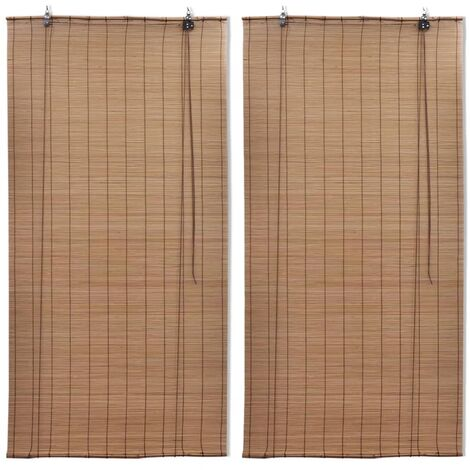 vidaXL Bamboo Roller Blinds 2 pcs 100x160 cm Brown - Brown