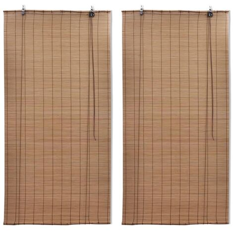 vidaXL Bamboo Roller Blinds 2 pcs Brown 120x220 cm - Brown
