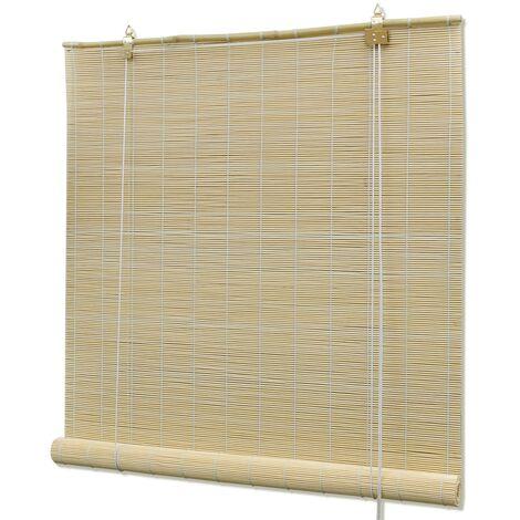 "main image of ""vidaXL Bamboo Roller Blind Daynight Window Sunscreen Drape Blackout Blind Blackout Roller Shade Bathroom Natural/Brown/Dark Brown Multi Sizes"""