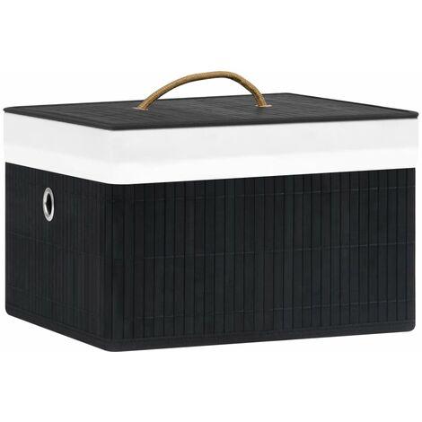 vidaXL Bamboo Storage Boxes 4 pcs Black - Black