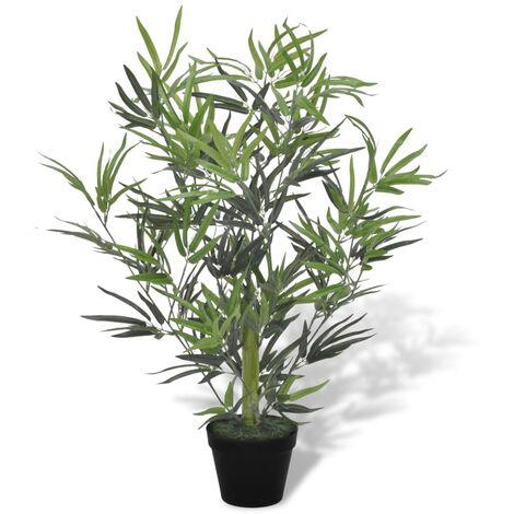 vidaXL Bambou Artificiel avec Pot Plante Artificielle Plante Réaliste Fausse Ornementale Décoration d'Intérieur Salon Bureau 80/90 cm