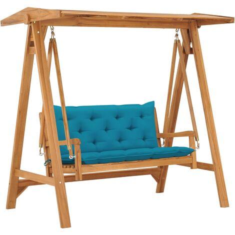 vidaXL Banco columpio madera maciza de teca con cojín azul claro 170cm