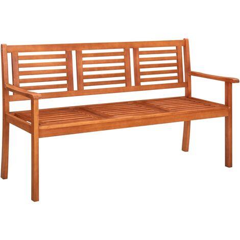 vidaXL Banco de jardín 3 plazas 150 cm madera de eucalipto maciza - Marrón