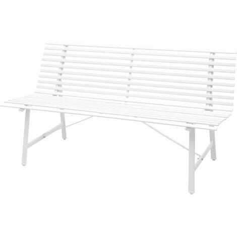 vidaXL Banco de Jardín Exterior de Acero 150x62x80 cm Blanco/Gris Antracita