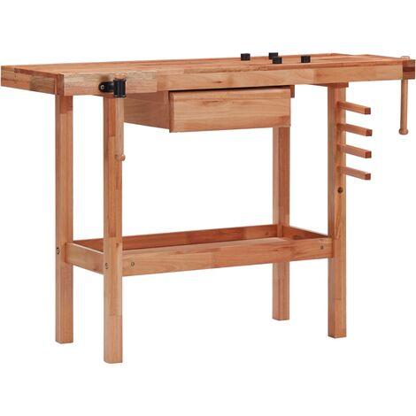 vidaXL Banco de trabajo carpintería con cajón y 2 mordazas madera dura - Marrón