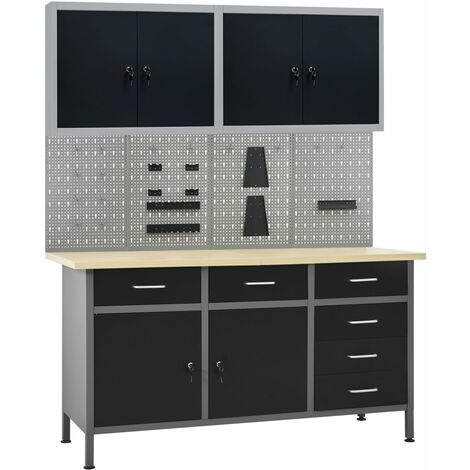 vidaXL Banco de trabajo con cuatro paneles de pared y dos armarios - Negro