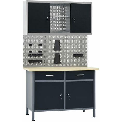 vidaXL Banco de trabajo con tres paneles de pared y un armario - Negro