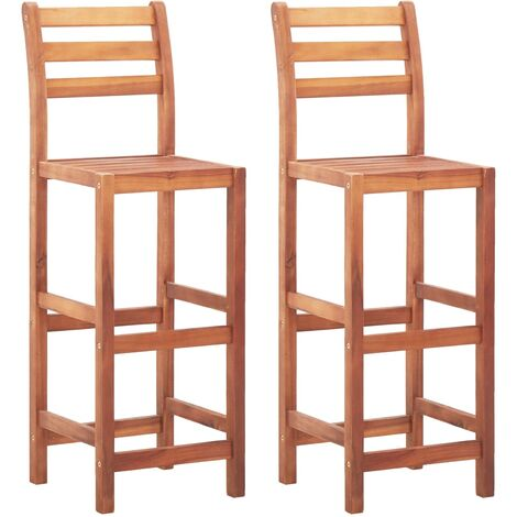 """main image of """"vidaXL 2/4x Solid Acacia Wood Bar Chairs with Backrest Weather Resistant Wooden Garden Outdoor Patio Terrace Pubs Restaurant Counter Stool"""""""