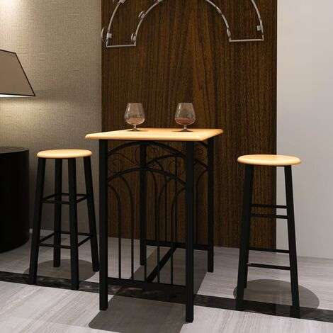 vidaXL Bar Set 3 Pieces Bar Table and Stools Breakfast Bistro Pub Kitchen Furniture Dining Room Restaurant Set Wood and Steel Multi Colours