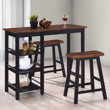 vidaXL Bar Set 3 Pieces MDF Table and Stool Living Room Dining Room Furniture Set Classic Design Bar Table Kitchen Supply Storage Black/White