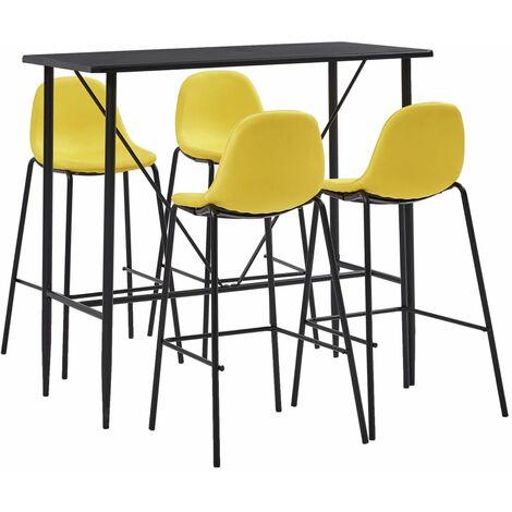 vidaXL Bar Set 5-tlg. Tresen Bartisch Barstuhl Stehtisch Bistrotisch Bartresen Küchenbar Küchentisch Tresentisch Tisch 4 Barhocker Stoff mehrere Auswahl