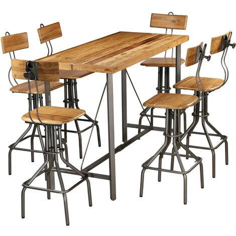 vidaXL Bar Set Kitchen Furniture Home Treats Table and Stool Set Breakfast Bar Bistro Desk and ChairsSolid Reclaimed Teak Multi Piece