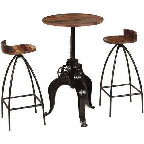 vidaXL Bar Set Solid Mango Wood Indoor Outdoor Garden Home Patio Kitchen Living Room Fuiniture Bar Chair Bar Desk 3 Pieces/5 Pieces