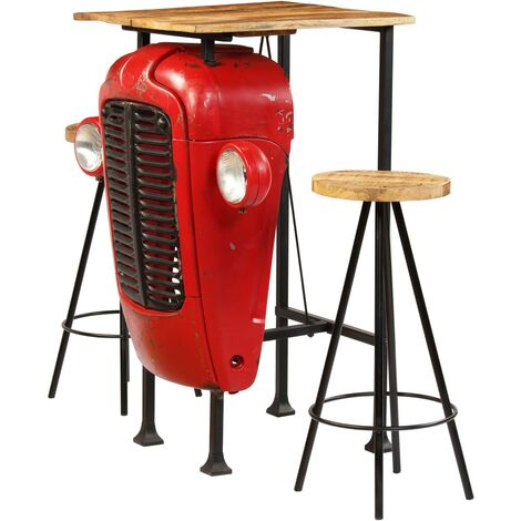 vidaXL Bar Set Solid Mango Wood Indoor Outdoor Garden Home Patio Kitchen Living Room Fuiniture Bar Chair Bar Desk Multi Size Multi Number
