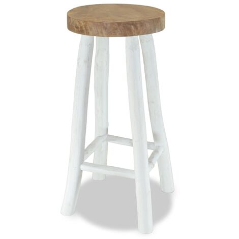 vidaXL Bar Stool Solid Teak Wood - White
