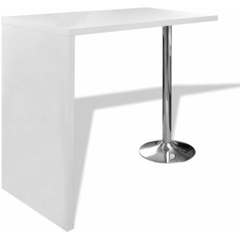 vidaXL Bar Table MDF with 1 Steel Leg High Gloss White - White