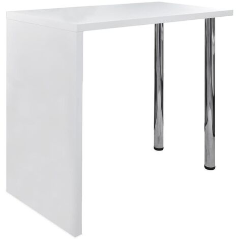 vidaXL Bar Table MDF with 2 Steel Legs High Gloss White - White