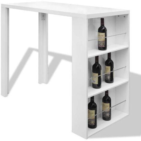 vidaXL Bar Table MDF with Wine Rack High Gloss White - White