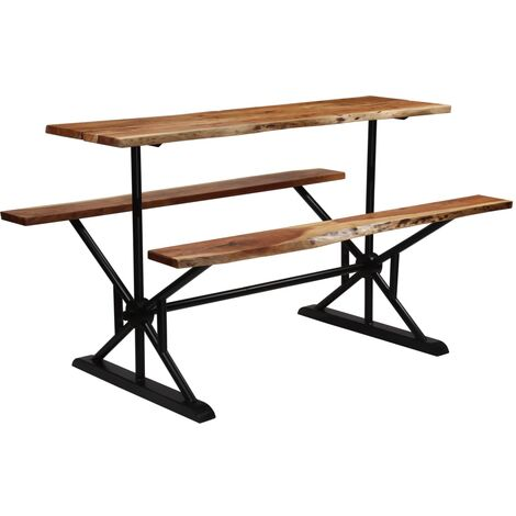 vidaXL Bar Table with Benches Solid Acacia Wood 180x50x107 cm - Brown