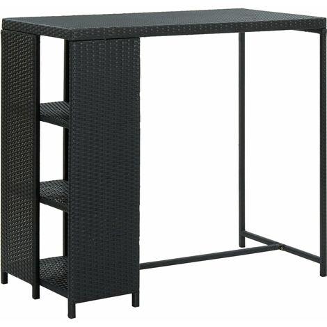 vidaXL Bar Table with Storage Rack 120x60x110 cm Poly Rattan Brown - Brown
