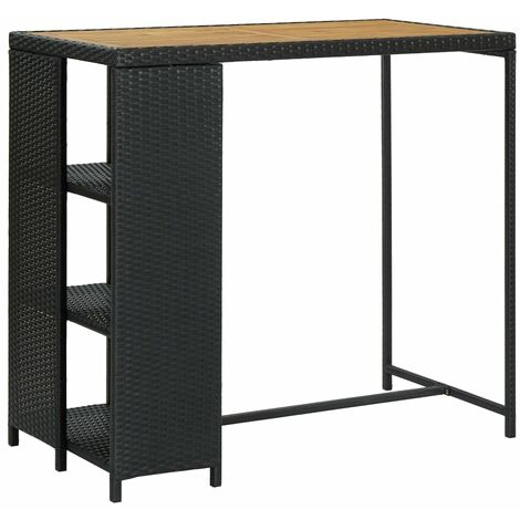 vidaXL Bar Table with Storage Rack Black 120x60x110 cm Poly Rattan - Black