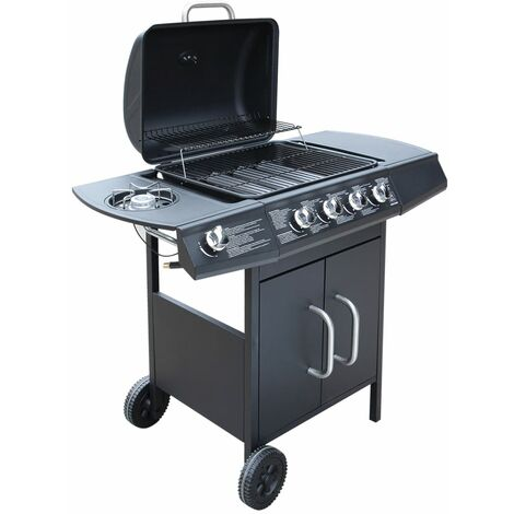 vidaXL Barbacoa grill de gas 4+1 quemadores negra - Negro