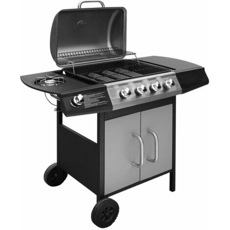vidaXL Barbacoa grill de gas 4+1 quemadores negra y plateada - Multicolor