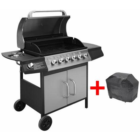 vidaXL Barbacoa grill de gas 6+1 quemadores negra y plateada