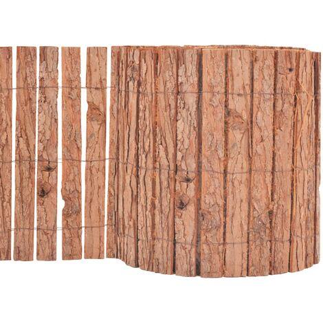 vidaXL Bark Fence 1000x30 cm - Brown