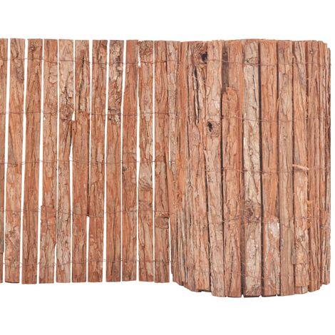 vidaXL Bark Fence 1000x50 cm - Brown