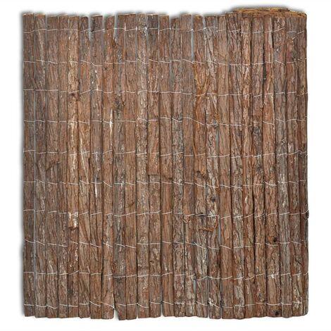 vidaXL Bark Fence 400x125 cm - Brown