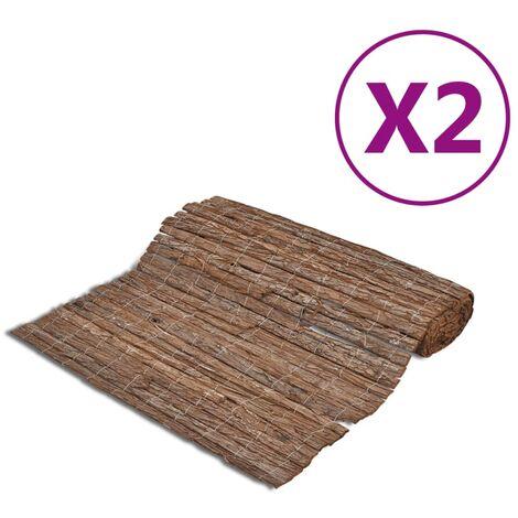 vidaXL Bark Fences 2 pcs 400x150 cm - Brown