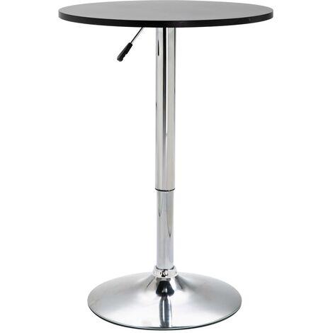 vidaXL Bartisch Rund Höhenverstellbar Stehtisch Bistrotisch Tresentisch Partytisch Tisch Küchentisch Esstisch Bar Ø 60cm MDF Schwarz/Weiß