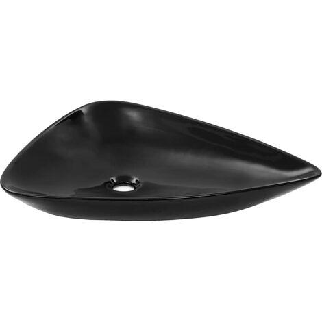 vidaXL Basin Ceramic Black Triangle 645x455x115 mm - Black
