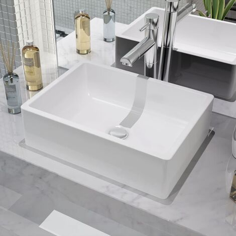 vidaXL Basin Ceramic White 41x30x12 cm - White
