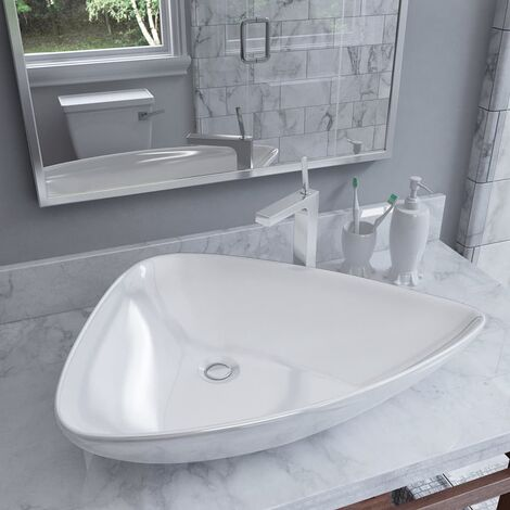vidaXL Basin Ceramic White Triangle 645x455x115 mm - White