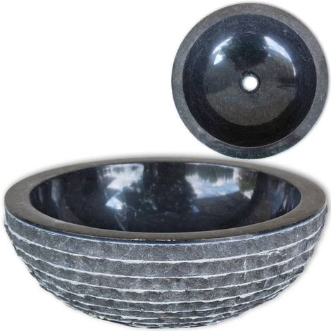 vidaXL Basin Marble 40 cm Black - Black
