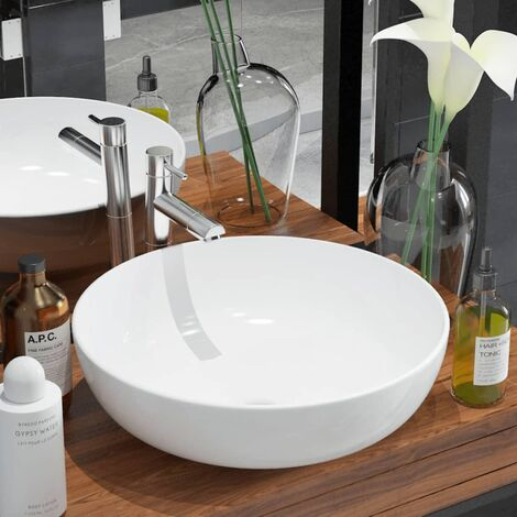 vidaXL Basin Round Ceramic White 41.5x13.5 cm - White