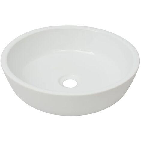 vidaXL Basin Round Ceramic White 42x12 cm - White