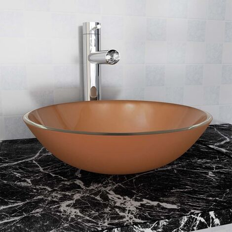 vidaXL Basin Tempered Glass 42 cm Brown - Brown