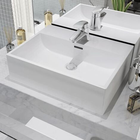 vidaXL Basin with Faucet Hole Ceramic White 51.5x38.5x15 cm - White