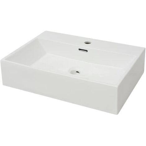 vidaXL Basin with Faucet Hole Ceramic White 60.5x42.5x14.5 cm - White