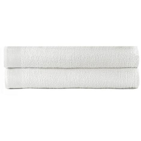 vidaXL Bath Towels 2 pcs Cotton 450 gsm 100x150 cm White - White